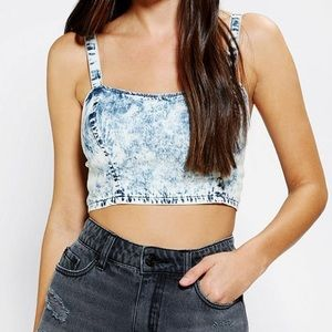 UO Out From Under Acid Wash Crop Top Bralette Sz L